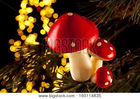 Christmas tree decorations in the form of mushrooms or toadstools