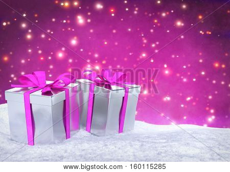 Christmas gifts in snow on bokeh pink background- 3D render.