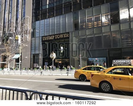 NEW YORK CITY, USA - November 23, 2016. Trump Tower in New York City barricaded to protect President Elect Donald Trump and his family. This is the headquarter of the Trump Organization and is currently heavily covered by the U.S. Secret Service.