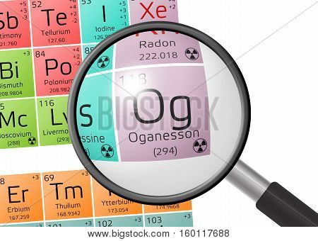 Element Of Oganesson With Magnifying Glass