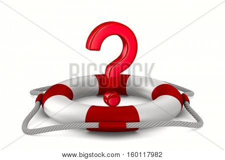 question into lifebuoy on white background. Isolated 3D image