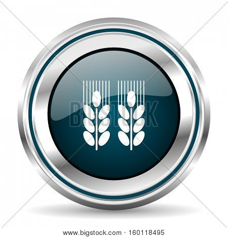 Agriculture vector icon. Chrome border round web button. Silver metallic pushbutton.