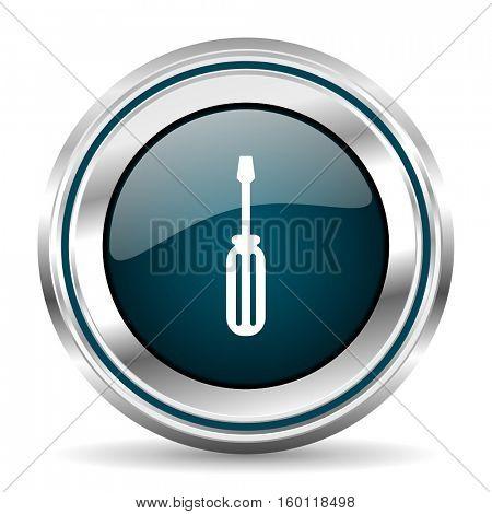 Tool vector icon. Chrome border round web button. Silver metallic pushbutton.