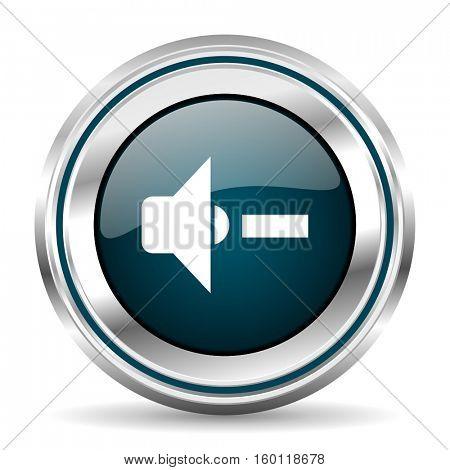 Music vector icon. Chrome border round web button. Silver metallic pushbutton.