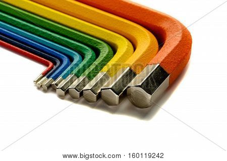 allen key or Hex wrench different colors on white background isolate