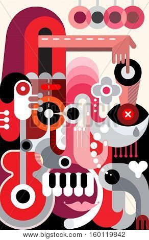 Abstract art vector design. Decorative composition of various objects and shapes.