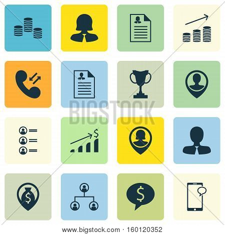 Set Of 16 Human Resources Icons. Can Be Used For Web, Mobile, UI And Infographic Design. Includes Elements Such As Male, Employee, Job And More.