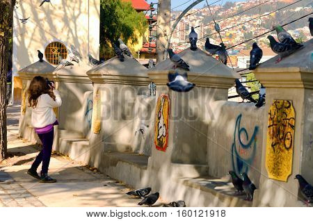 VALPARAISO CHILE - MAY 31: Young woman takes pictures of pigeons in Valparaiso Chile on May 31 2014