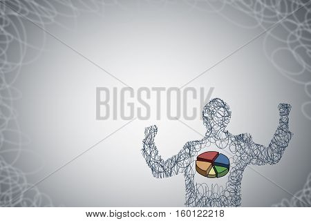 Silhouette of businessman with hands up and diagram pie in chest