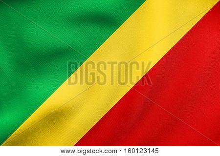 Flag Of The Congo Republic Waving, Fabric Texture