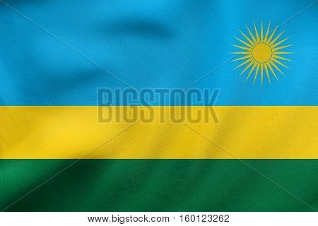 Flag Of Rwanda Waving, Real Fabric Texture