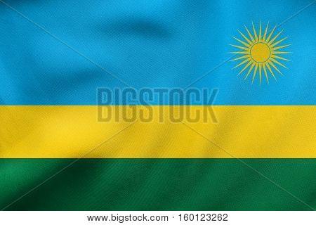 Flag Of Rwanda Waving, Real Fabric Texture