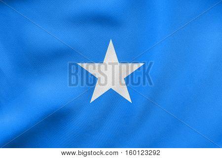 Flag Of Somalia Waving, Real Fabric Texture