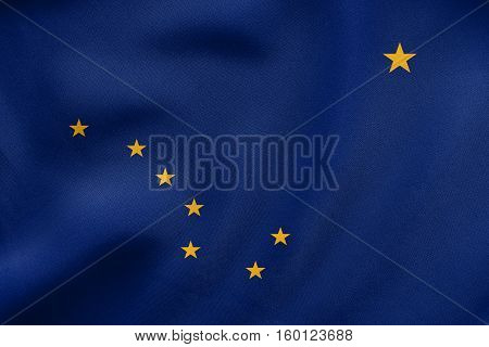 Flag Of Alaska Waving, Real Fabric Texture