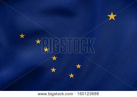 Flag Of Alaska Waving, Real Fabric Texture
