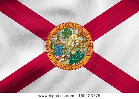 Flag Of Florida Waving, Real Fabric Texture