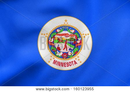 Flag Of Minnesota Waving, Real Fabric Texture