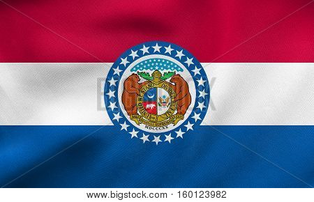 Flag Of Missouri Waving, Real Fabric Texture
