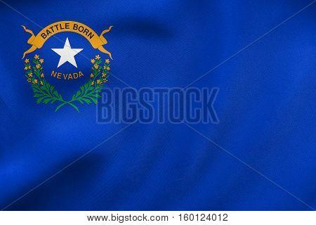 Flag Of Nevada Waving, Real Fabric Texture