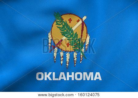 Flag Of Oklahoma Waving, Real Fabric Texture