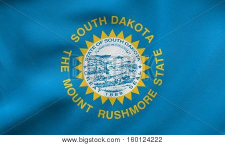 Flag Of South Dakota Waving, Real Fabric Texture