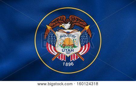 Flag Of Utah Waving, Real Fabric Texture