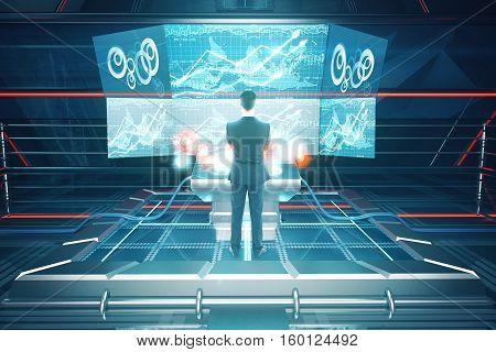 Man Using Futuristic Benchboard Back