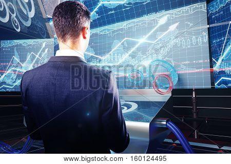 Man Using Futuristic Benchboard Closeup