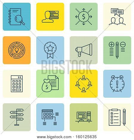 Set Of 16 Project Management Icons. Can Be Used For Web, Mobile, UI And Infographic Design. Includes Elements Such As Revenue, Advertising, Task And More.
