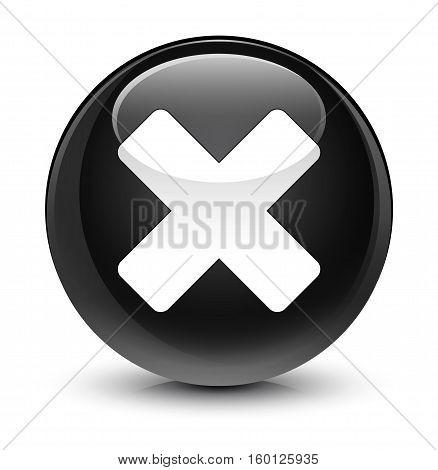 Cancel Icon Glassy Black Round Button