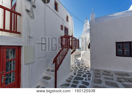 White houses in Little Venice at Mykonos, Cyclades Islands, Greece