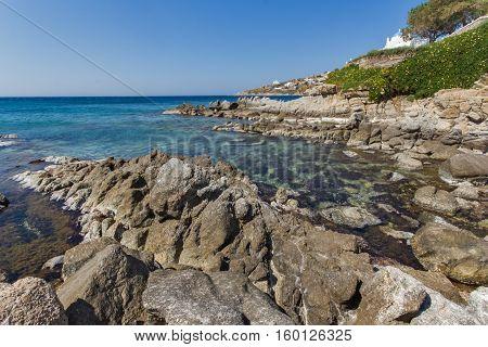 Rocks near Platis Gialos Beach at Mykonos, Cyclades, Greece