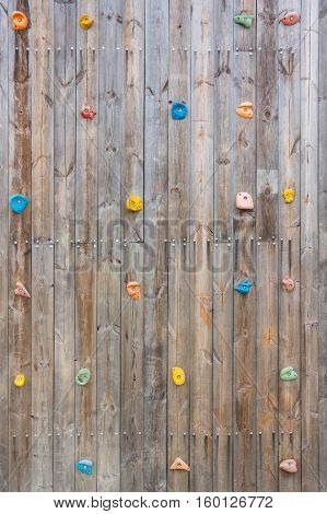 Grunge surface of old wood climbing wall with toe and hand hold studs.