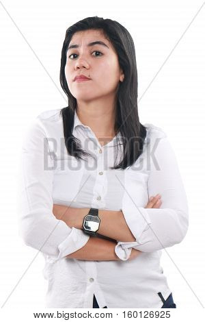 Photo image portrait of a beautiful cute young successful Asian businesswoman looked very proud strong and confidence with arms crossed on her chest half body close up portrait over white background