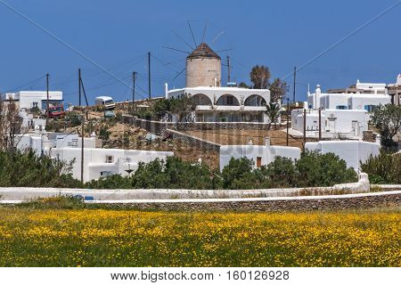 Panoramic view of Town of Ano Mera with spring flowers, island of Mykonos, Cyclades, Greece