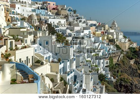 White houses in Fira, Santorini island, Thira, Cyclades, Greece