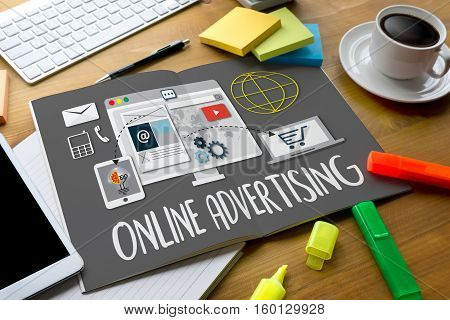 Online Advertising Man Working On Laptop , Online Advertising Website Marketing , Update Trends Repo