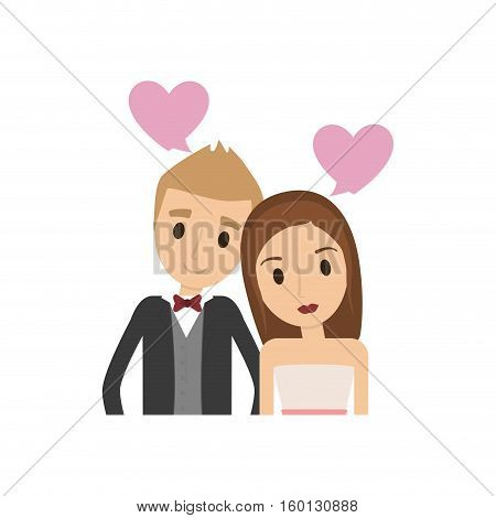 Couple of newlyweds frame decorative vector illustration design
