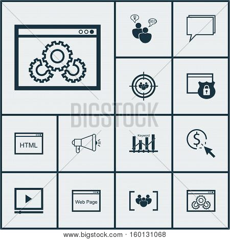 Set Of 12 Advertising Icons. Can Be Used For Web, Mobile, UI And Infographic Design. Includes Elements Such As Website, Marketing, Security And More.