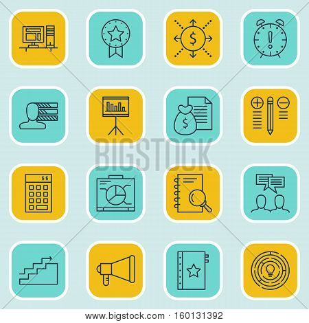 Set Of 16 Project Management Icons. Can Be Used For Web, Mobile, UI And Infographic Design. Includes Elements Such As Promotion, Skills, Time And More.