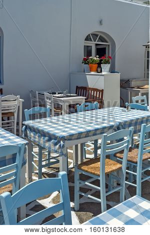 Typical restaurant in Naoussa town, Paros island, Cyclades, Greece