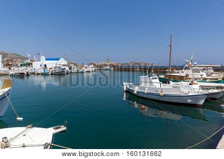 Panorama of Port in Naoussa town, Paros island, Cyclades, Greece