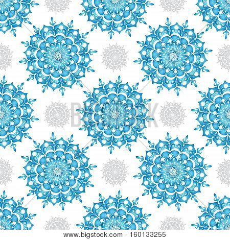 Winter seamless pattern with blue gradient and gray snowflakes without background vector