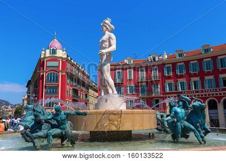 Fountain Called Fontaine Du Soleil In Nice, Italy