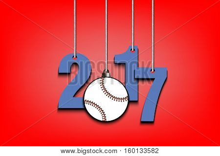 New Year numbers 2017 and baseball as a Christmas decorations hanging on strings. Vector illustration