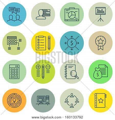Set Of 16 Project Management Icons. Can Be Used For Web, Mobile, UI And Infographic Design. Includes Elements Such As Skills, Office, Win And More.