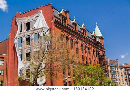Toronto, Ontario, Canada, May 22, 2016, great amazing gorgeous view of old vintage retro building with three dimensional art work on side wall