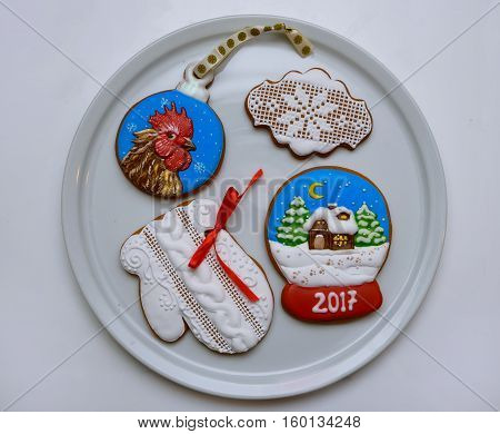 sweet gingerbread on a Christmas theme in the glaze
