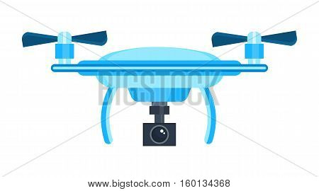 Drone with camera cartoon icons. Modern flying copters with action cameras vector illustrations isolated on white background. Drone icon. Vector drone sign. Drone logo.