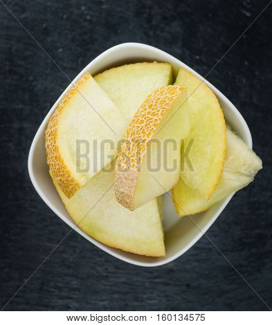 Rustic Slate Slab With Honeydew Melon (selective Focus)